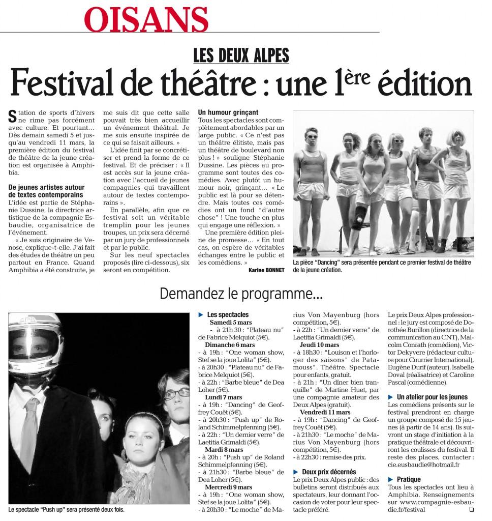 4 mars 2011 - Prix 2 Alpes de la jeune création - Article du Dauphiné Libéré